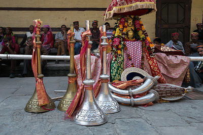 Large metal horns used during the Dussehra festival in Kullu, India