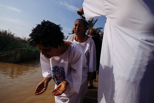 traditional Epiphany baptism ceremony at the site of Qasr el Yahud, photos