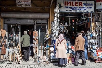 Hardware, metal and electronics for sale close to the spice market, Istanbul