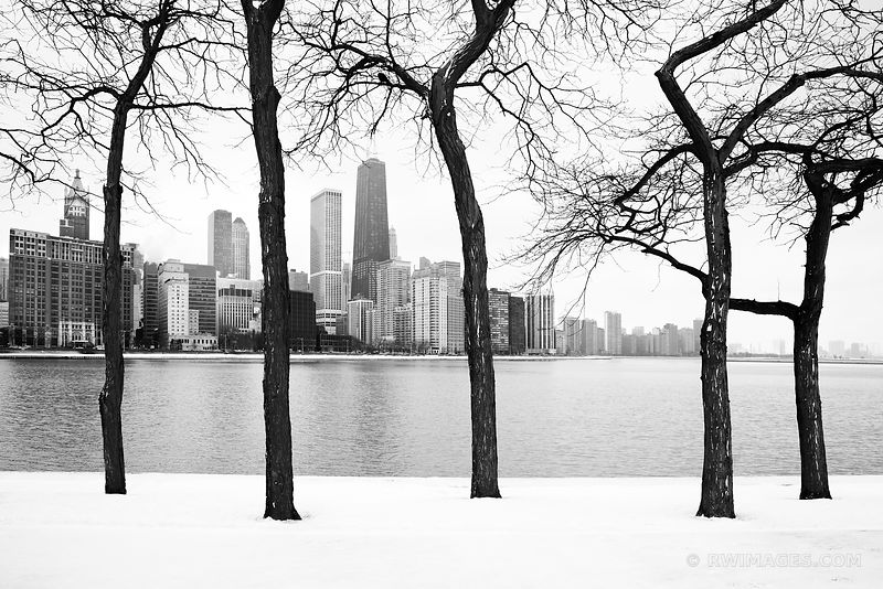 NORTH LOOP FROM OLIVE PARK CHICAGO WINTER BLACK AND WHITE