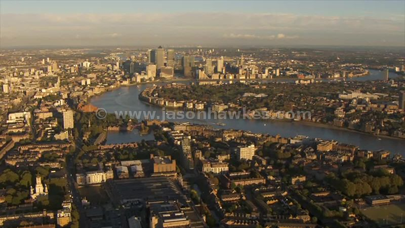 Aerial footage of Rotherhithe, London