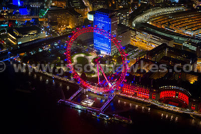 Aerial view of the London Eye at night, London