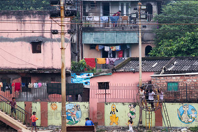 View of a school playground, Kustia, Kolkata, India