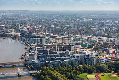 Aerial view of Battersea Power station redevelopment, London
