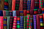 Karamojong blankets at the Moroto cattle market, Uganda