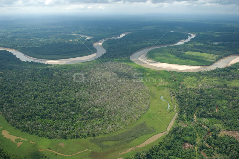 Aerial view of floodplain of the Ichilo River (which forms the Mamoré River) at the border of Cochabamba and Santa Cruz depar...