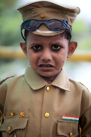 Portrait of a boy in a uniform in Bandra East, Mumbai, India.