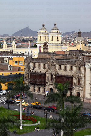 View of Plaza de Armas, Archbishop's Palace and San Francisco church, Lima, Peru