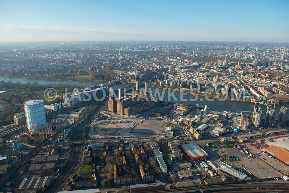 Aerial view of Battersea Power Station and the Nine Elms regeneration site, London