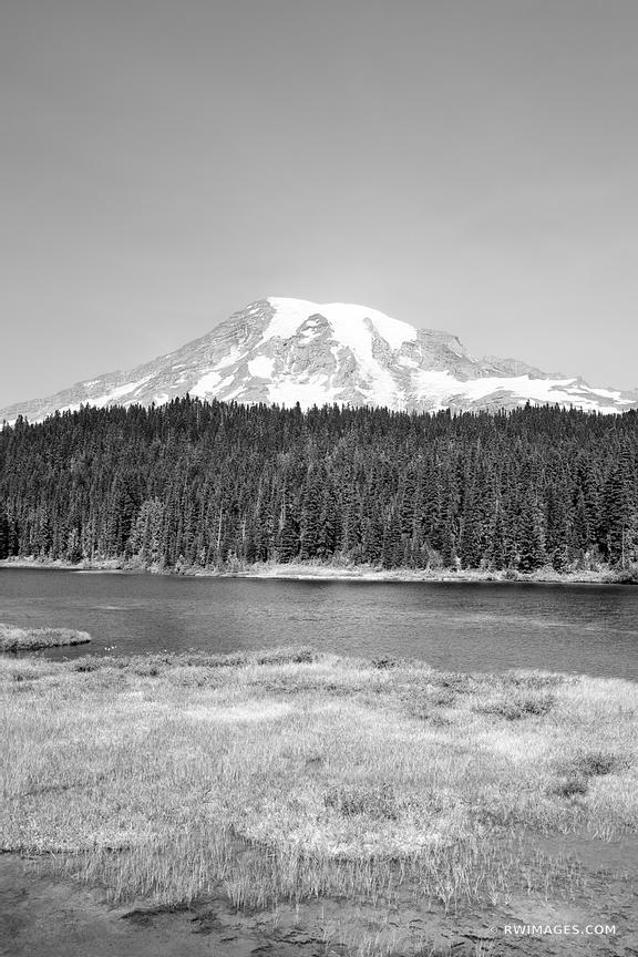 MOUNT RAINIER NATIONAL PARK WASHINGTON STATE BLACK AND WHITE VERTICAL