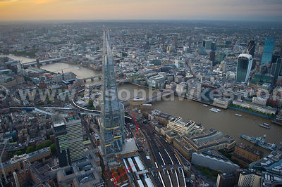 Aerial view of The River Thames and The Shard, London