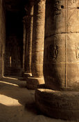 Medinet Habu, south portio in the first courtyard, columns with bas-reliefs, Ancient Thebes, Luxor, Egypt