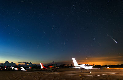 26 meteors belonging to the Perseid meteor shower above the Vesivehmaa airfield on August 13 2015. Composite image.