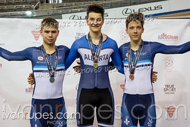 Junior Men Scratch Race Podium. Eastern Track Challenge/O-Cup #3, February 10, 2019