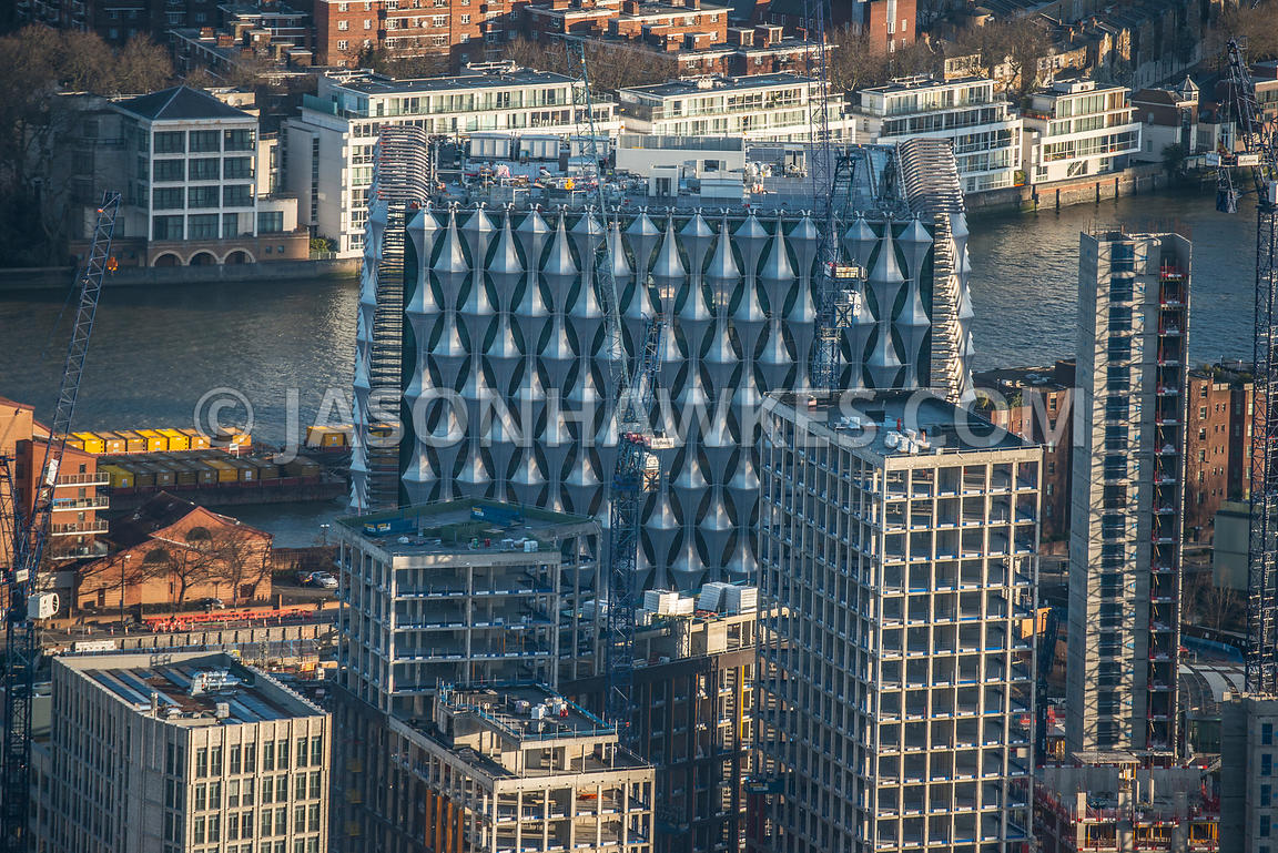 Aerial view of London constructin of New United States Embassy near Battersea.