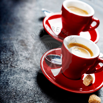 Coffee Espresso. Red Cups Of Coffee