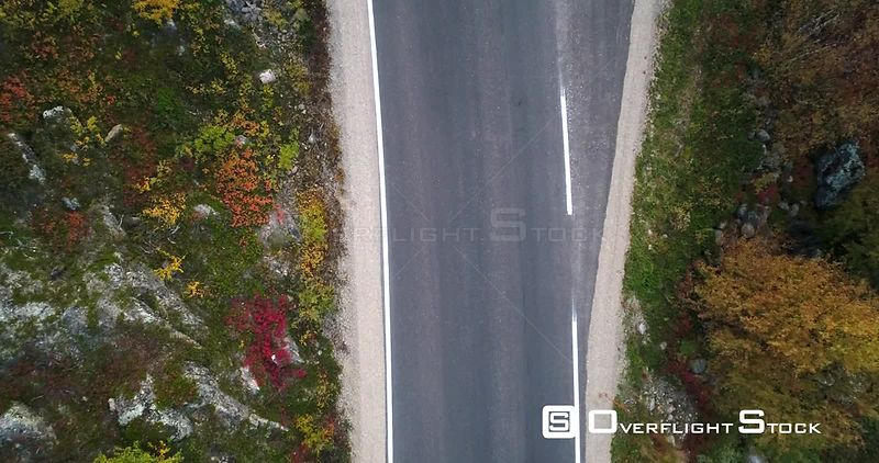 Autumn Color Road, Aerial Rising View of a Car Parked on 970 the Tenontie Road Full of Different Colors, Near Tenojoki River,...