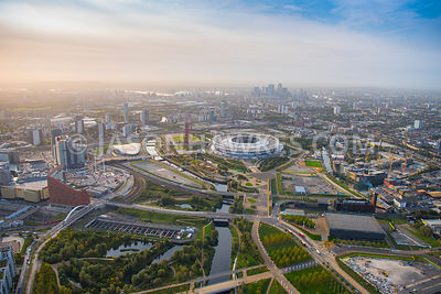 Aerial view of East London, Stratford Olympic Village redevelopment.