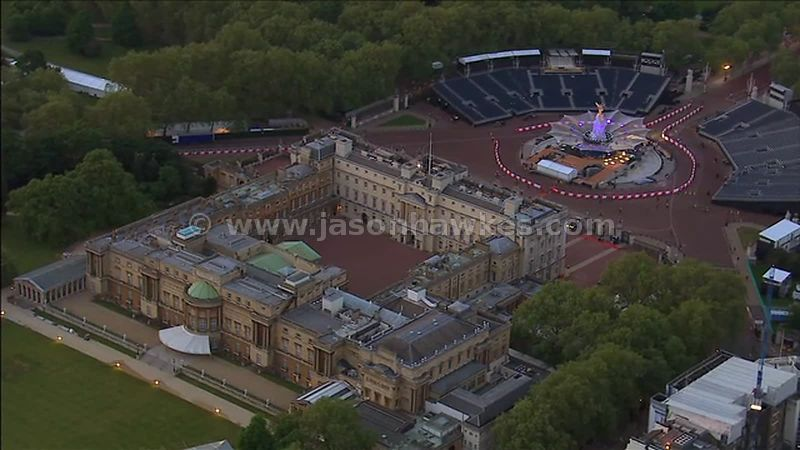 Aerial footage of Buckingham Palace at dusk, London, England, UK