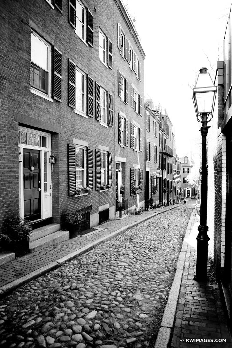 BOSTON BEACON HILL COBBLESTONE STREET BLACK AND WHITE VERTICAL