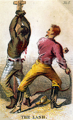 Card depicting slave being whipped