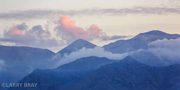 Pastel coloured mountains at sunset in Kalives, Crete