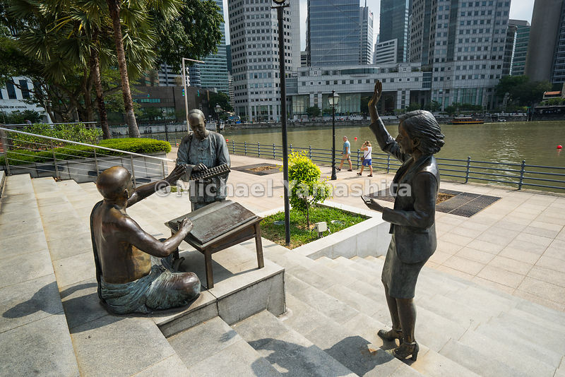 Sculptural works stationed along the mouth of the Singapore River are reminders of the waterway's heritage as a trading post ...