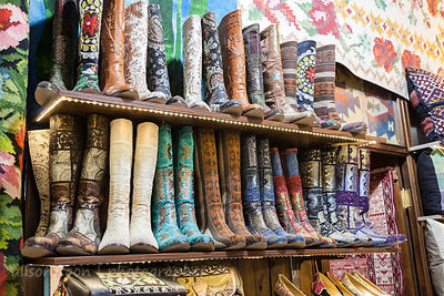 Decorated fabric boots for sale in the Grand Bazaar, Istanbul