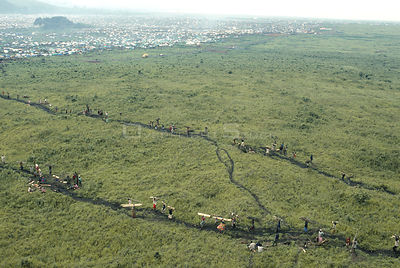 Aerial view of Rwandan hutu refugees removing 900 tons of wood per day from Virunga NP for fuel, Democratic Republic of Congo