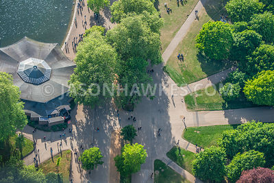 Aerial view of pattern of pathways in Hyde Park, London.