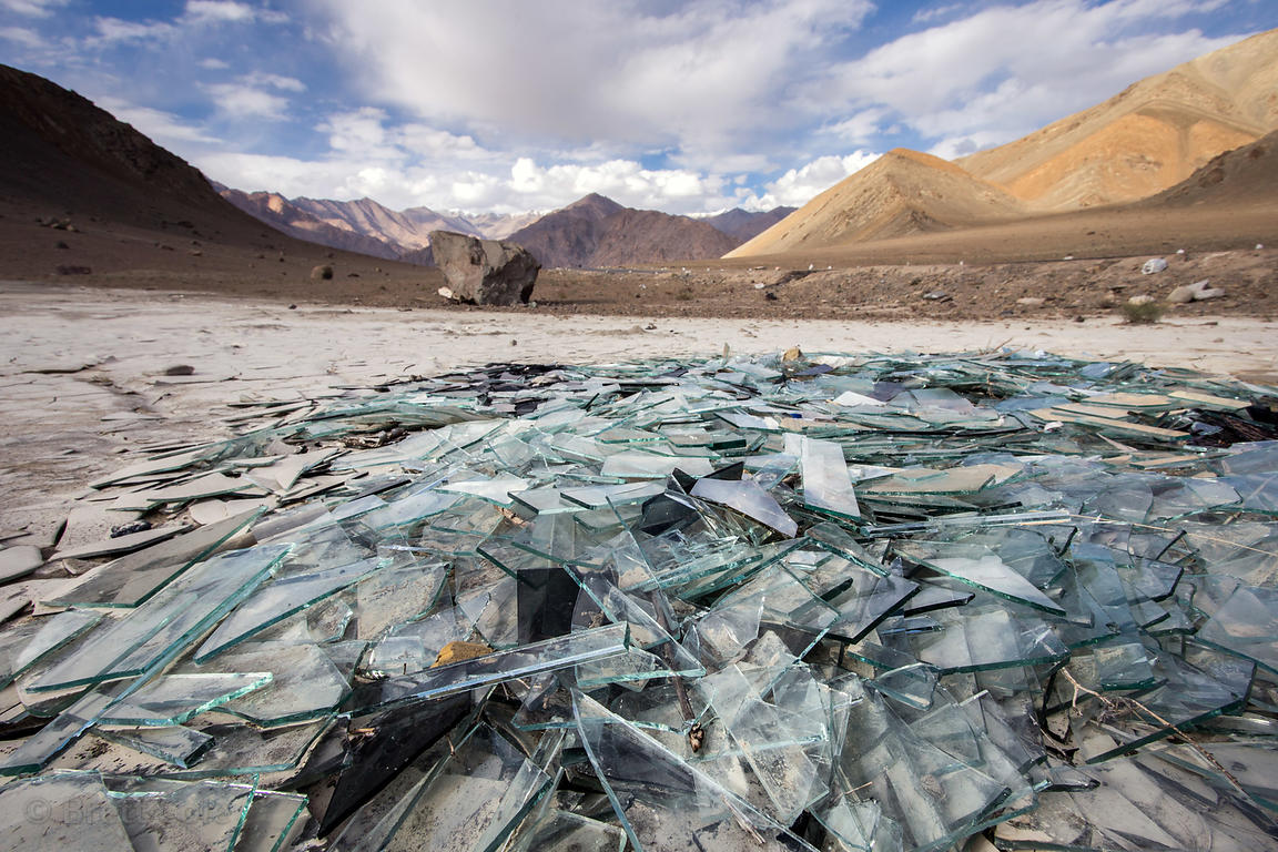 Broken glass dumped on the Himalayan plain at 12,500 feet near Nimmu, Ladakh, India