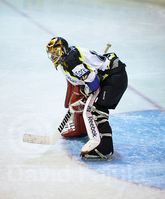 Slovak goalkeeper Andrej Beliansky (CGP) during a match of the Spanish Ice Hockey Super League (Superliga Española de Hockey ...