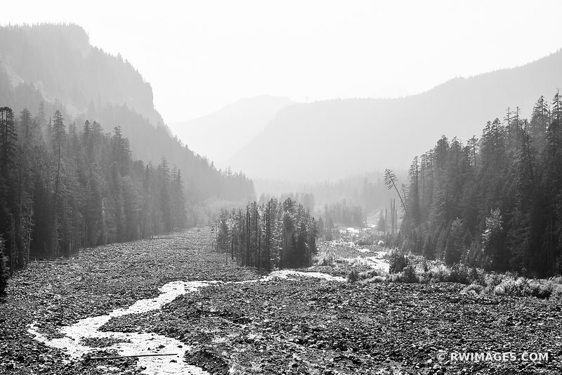 NISQUALLY RIVER MOUNT RAINIER NATIONAL PARK WASHINGTON BLACK AND WHITE
