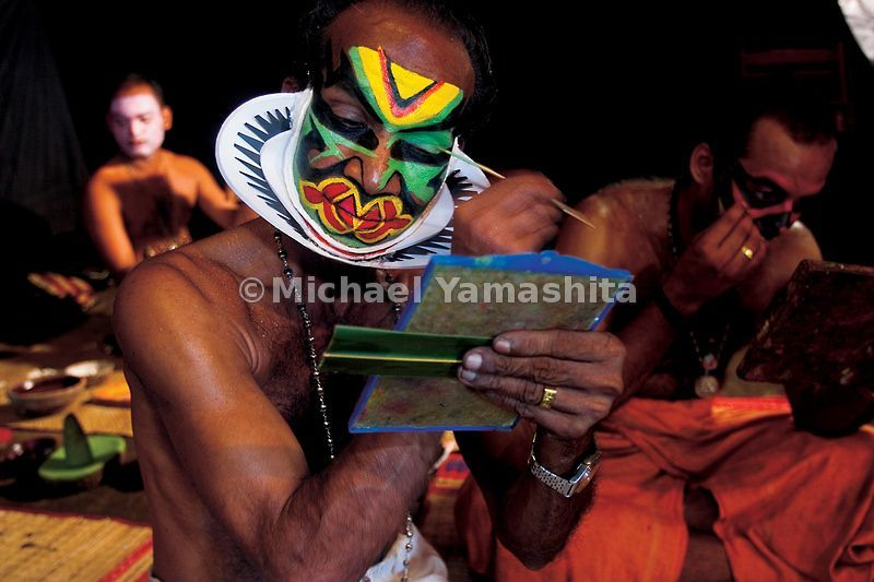 Kathakali performers in Kerala spend painstaking hours applying their own elaborate make-up.