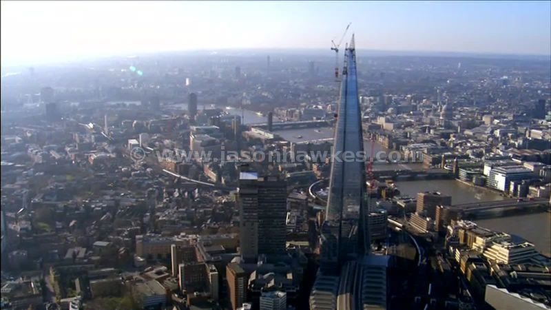Aerial footage around The Shard, London Bridge, London, England, UK