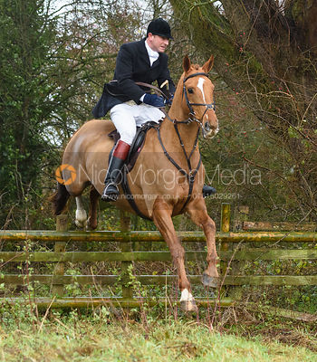 Sam Vaughan-Jones jumping a hunt jump in Holwell. The Belvoir Hunt at Hill Top Farm 1/12