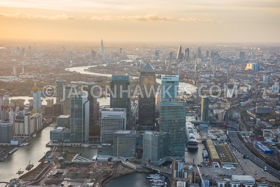 Aerial view of Canary Wharf, London