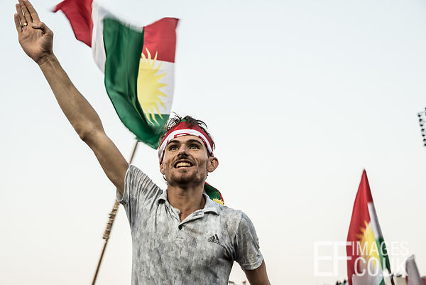 Support for an independent Kurdistan at the final rally of the referendum campaign, at Franso Hariri Stadium in Erbil. 22nd S...