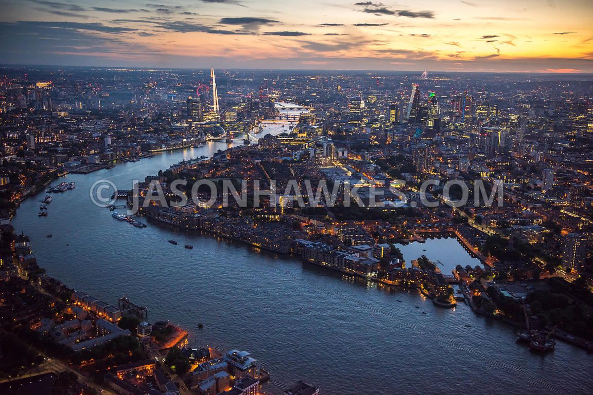 Aerial view of London, River Thames at Shadwell Basin towards City of London and The Shard.