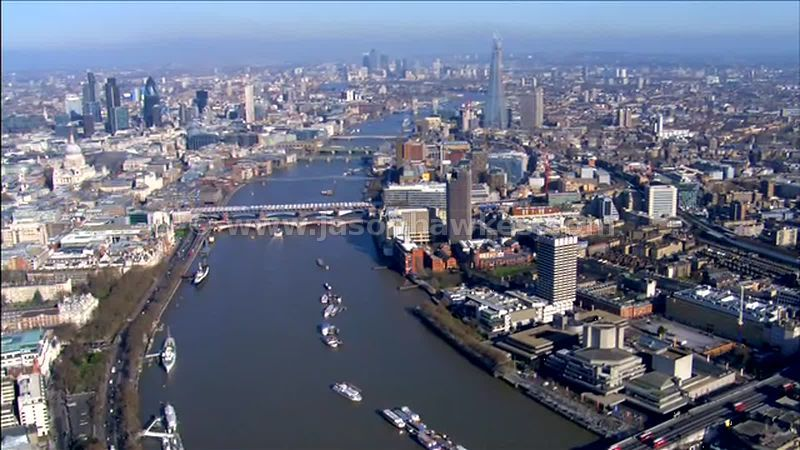 Aerial footage over the River Thames, South Bank, London, England