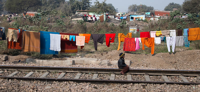 Laundry on the railroad tracks near the Delhi Cantt station, Delhi, India