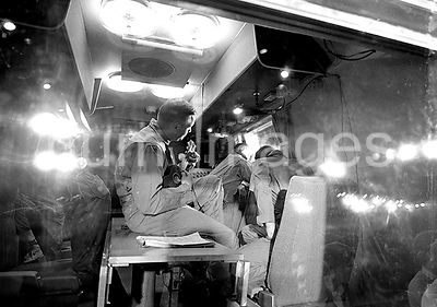 (27 July 1969) --- Interior view of a Mobile Quarantine Facility, showing the Apollo 11 crewmen soon after they arrived at El...