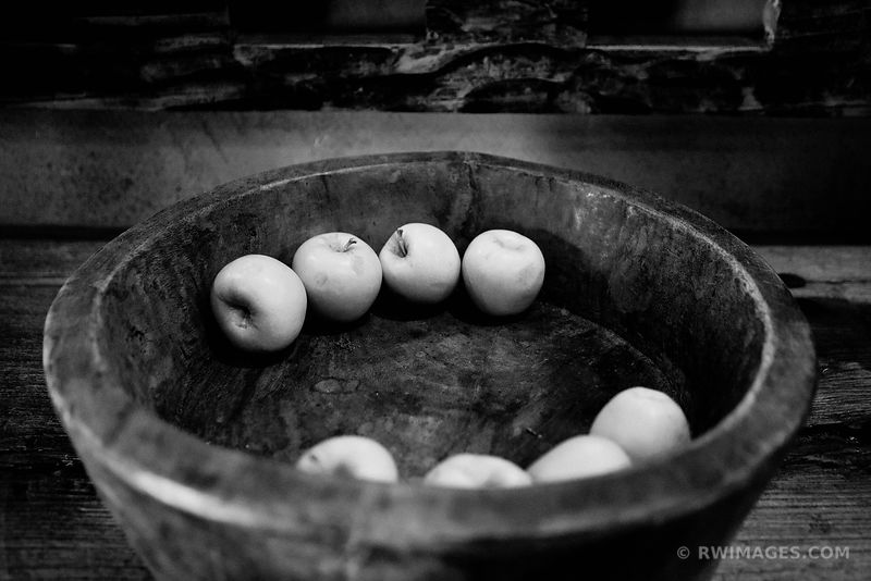 APPLES IN A WOODEN BOWL SANTA FE NEW MEXICO BLACK AND WHITE