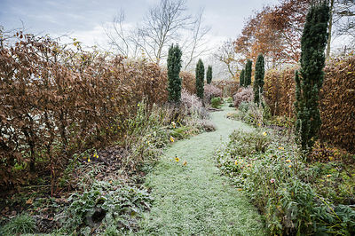 In the part of the garden called Arcanum a snaking grass path runs between herbaceous borders planted with perennials floweri...