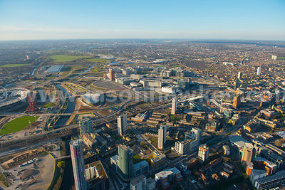 Aerial view of the Queen Elizabeth Olympic Park, Stratford, London