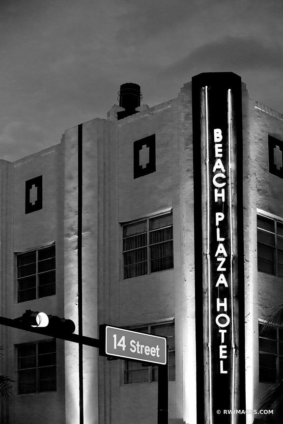 14TH STREET ART DECO ARCHITECTURE MIAMI BEACH FLORIDA EVENING BLACK AND WHITE