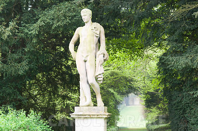 Statue of Apollo with the Long Walk stretching behind him, part of Charles Bridgeman's original garden scheme. Rousham House,...