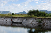 canoe on the river near Taolagnaro (Fort Dauphin) , Madagascar