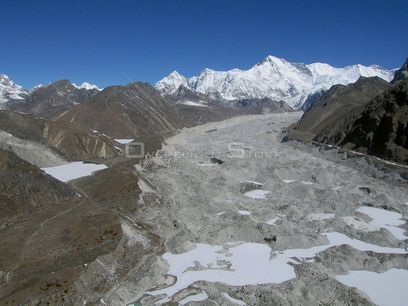 NEPAL Ngozumpa Glacier -- 16 Apr 2005 -- Aerial view of the main Ngozumpa (Gokyo) glacier, one of the largest in the Everest ...