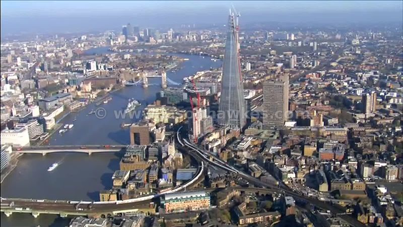 Aerial footage around The Shard, London England, UK
